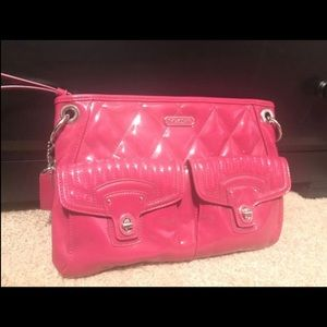Pink patent leather Coach purse new no tags